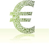 Eco friendly green euro on white background. Illustrator vector image.