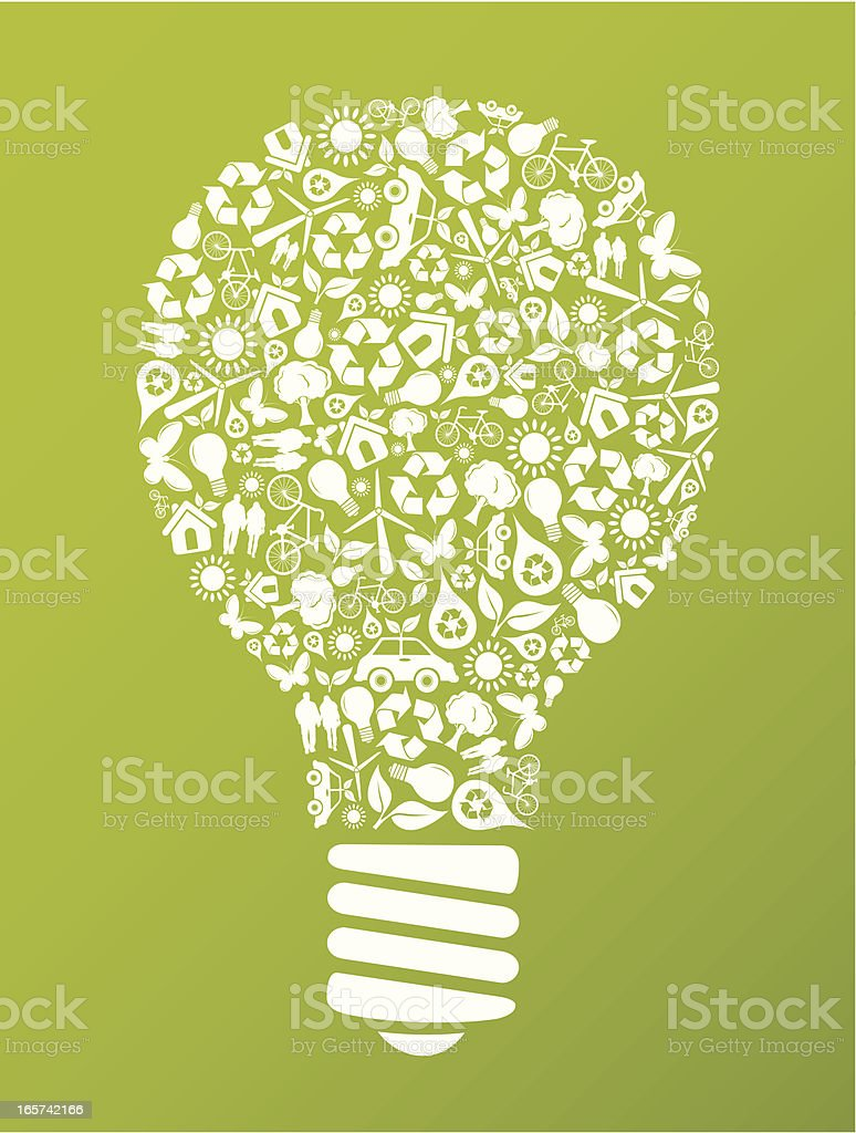 Eco friendly green light bulb made up of energy icons royalty-free stock vector art
