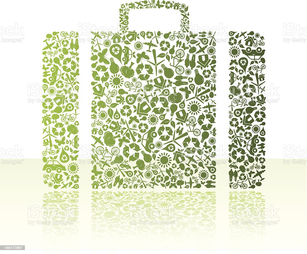 Eco friendly green suitcase royalty-free stock vector art