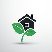 Eco Friendly Home - Design Concept with Leaves