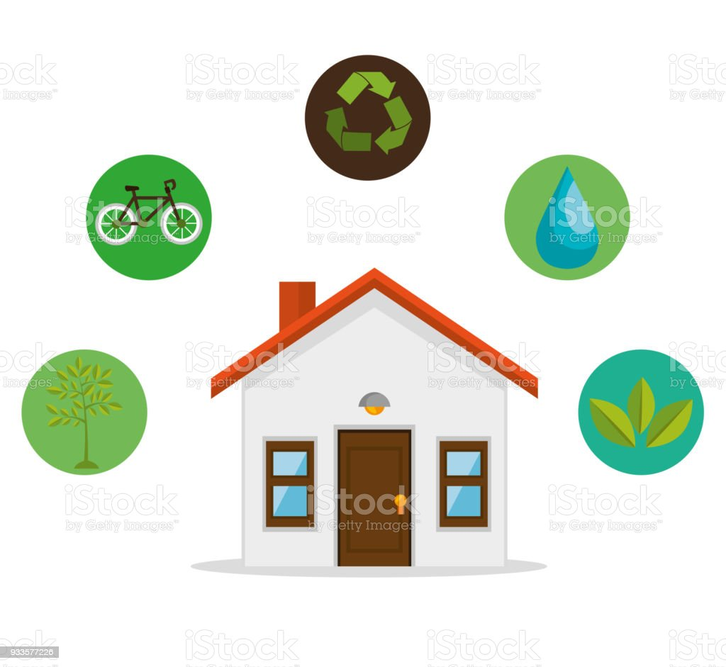 Eco Friendly Home Environmental Design Stock Vector Art & More ...