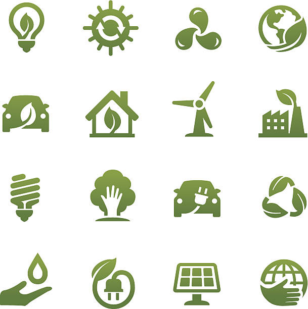 eco friendly icons - acme series - energy saving stock illustrations, clip art, cartoons, & icons