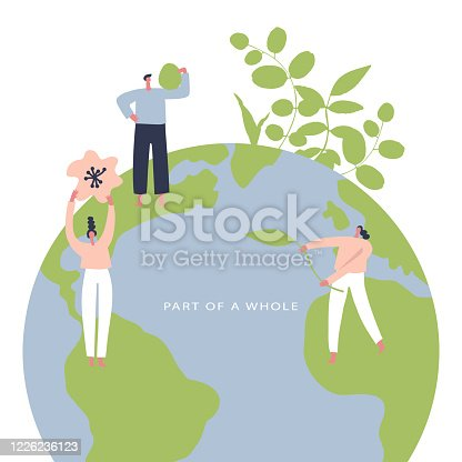 Eco friendly lifestyle hand drawn vector illustration. Group of environmentalists. Card to world environmental day, nature protection, nature saving concept