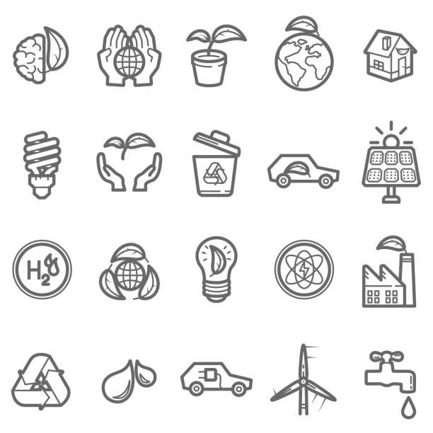 illustrazioni stock, clip art, cartoni animati e icone di tendenza di eco friendly line icon - pila a idrogeno