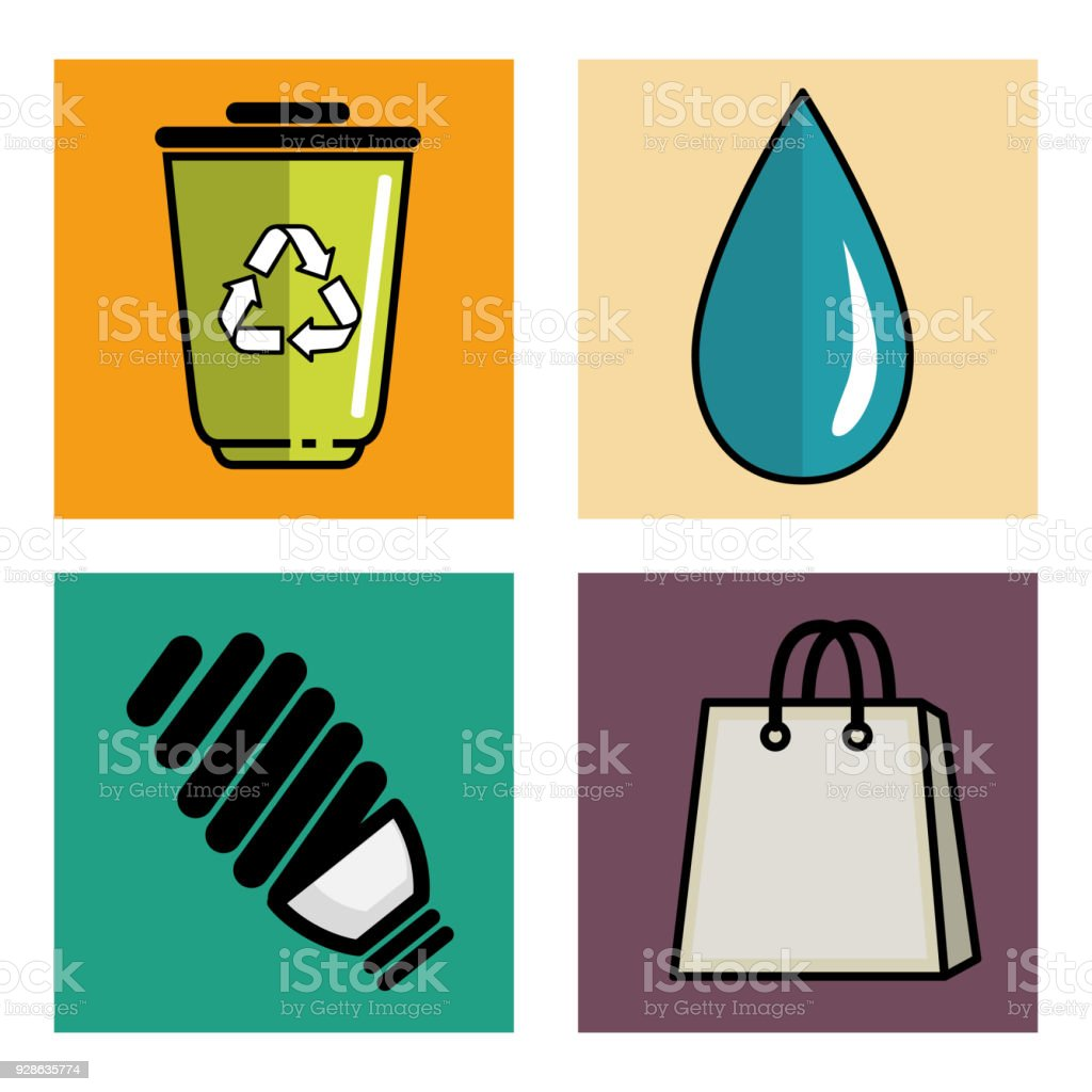 Eco friendly object icons vector art illustration