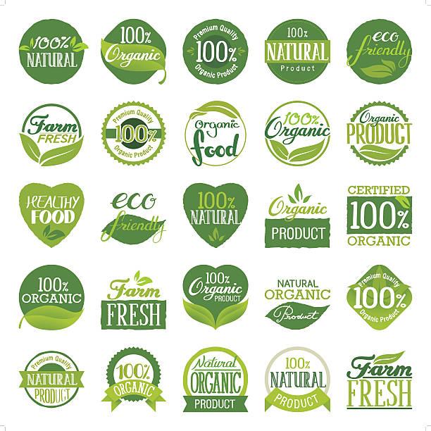 ilustrações, clipart, desenhos animados e ícones de eco friendly & conjunto de ícones orgânicos - condição natural