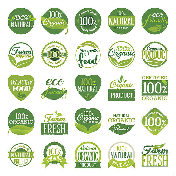 eco friendly & organic icon set - organic stock illustrations, clip art, cartoons, & icons