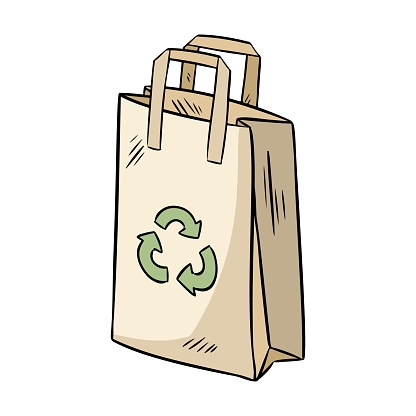 Eco friendly paper bag. Ecological and zero-waste product. Go green living