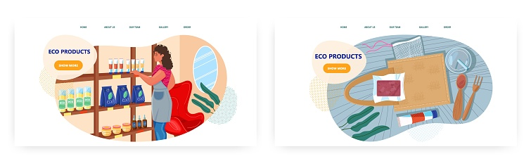Eco friendly products shop, landing page design, website banner vector templates. Natural cosmetic, food, bag, cutlery.