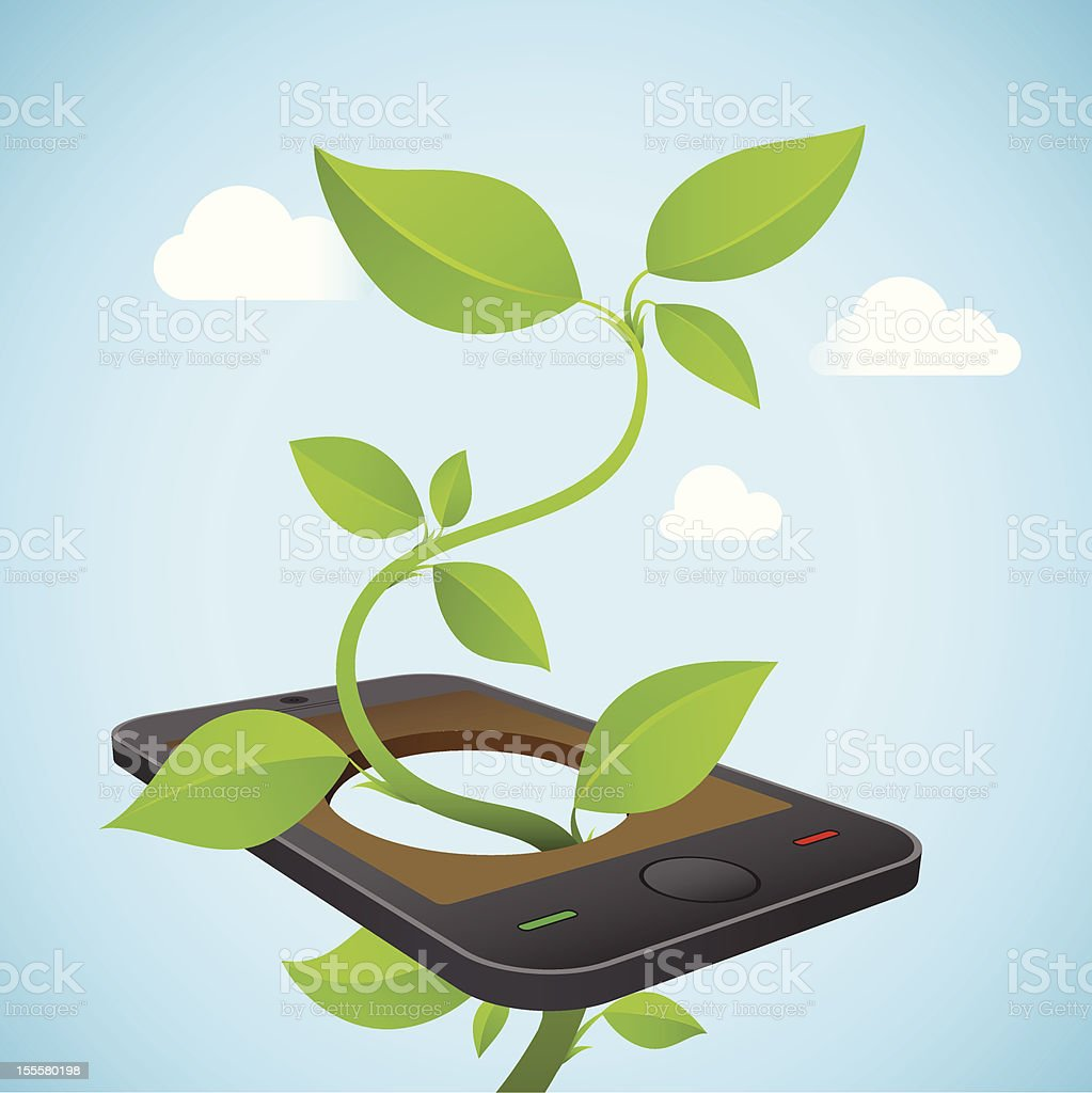 Eco Friendly Technology Smart Phone vector art illustration
