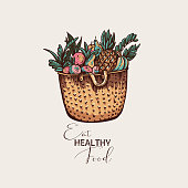 Eco friendly vintage vector greeting card, healthy food illustration, wicker basket with organic products on white background.