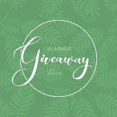 Eco giveaway vector illustration for like or repost advertising in social network. Circle frame on banner of present giving for business. Fern leaves isolated on green background with lettering text.