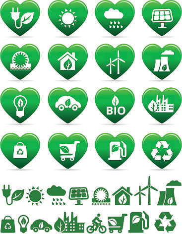 eco green and bio energy icons in heart shape