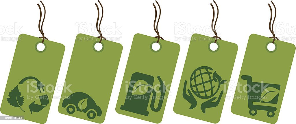 eco green and recycling symbol price tag vector art illustration