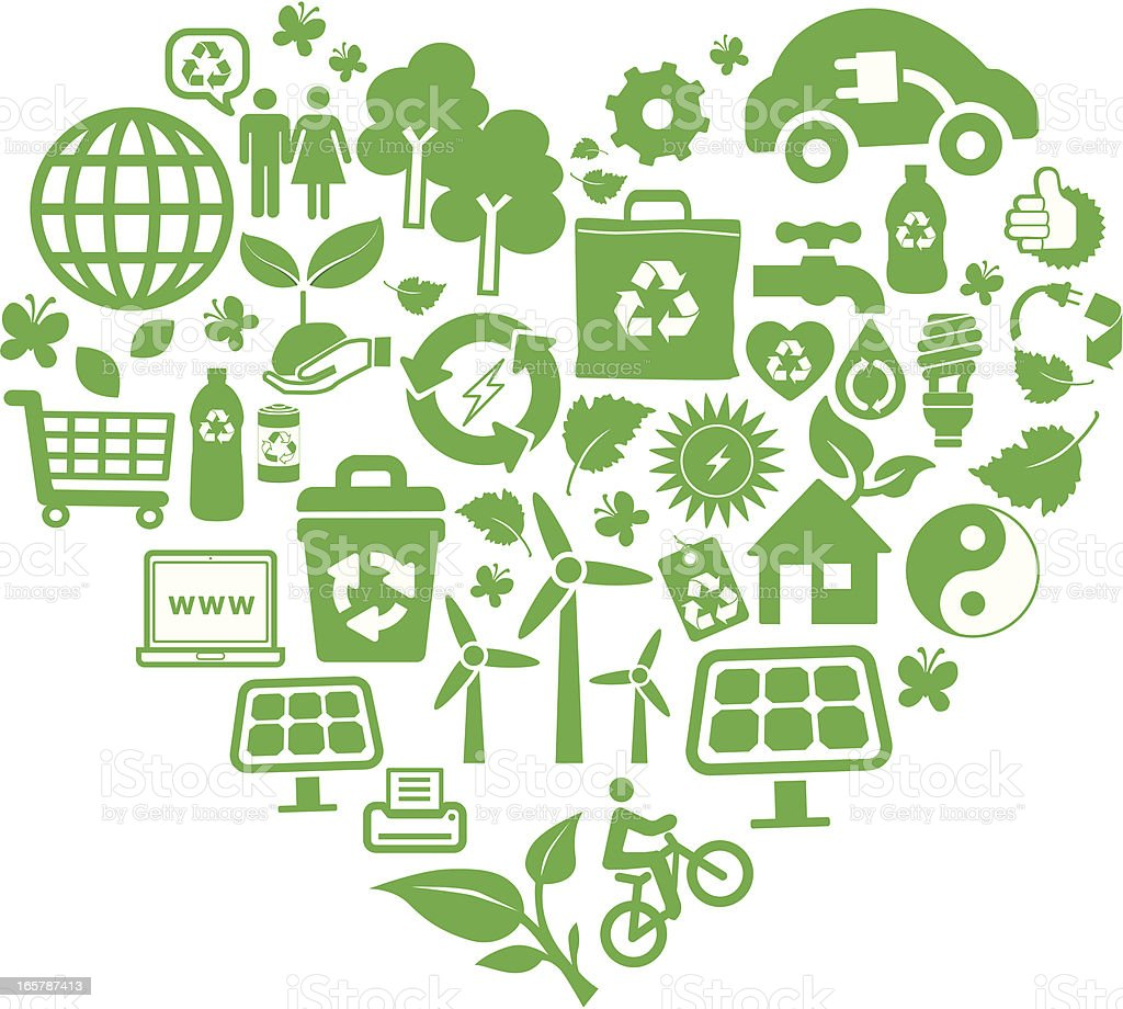 eco green and recycling symbols montage in heart shape royalty-free stock vector art