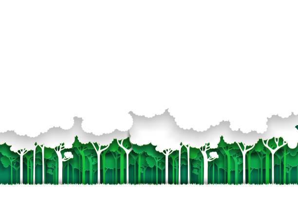 eco-grün-weißen wald hintergrund. papier-art-stil. - gartenskulpturkunst stock-grafiken, -clipart, -cartoons und -symbole