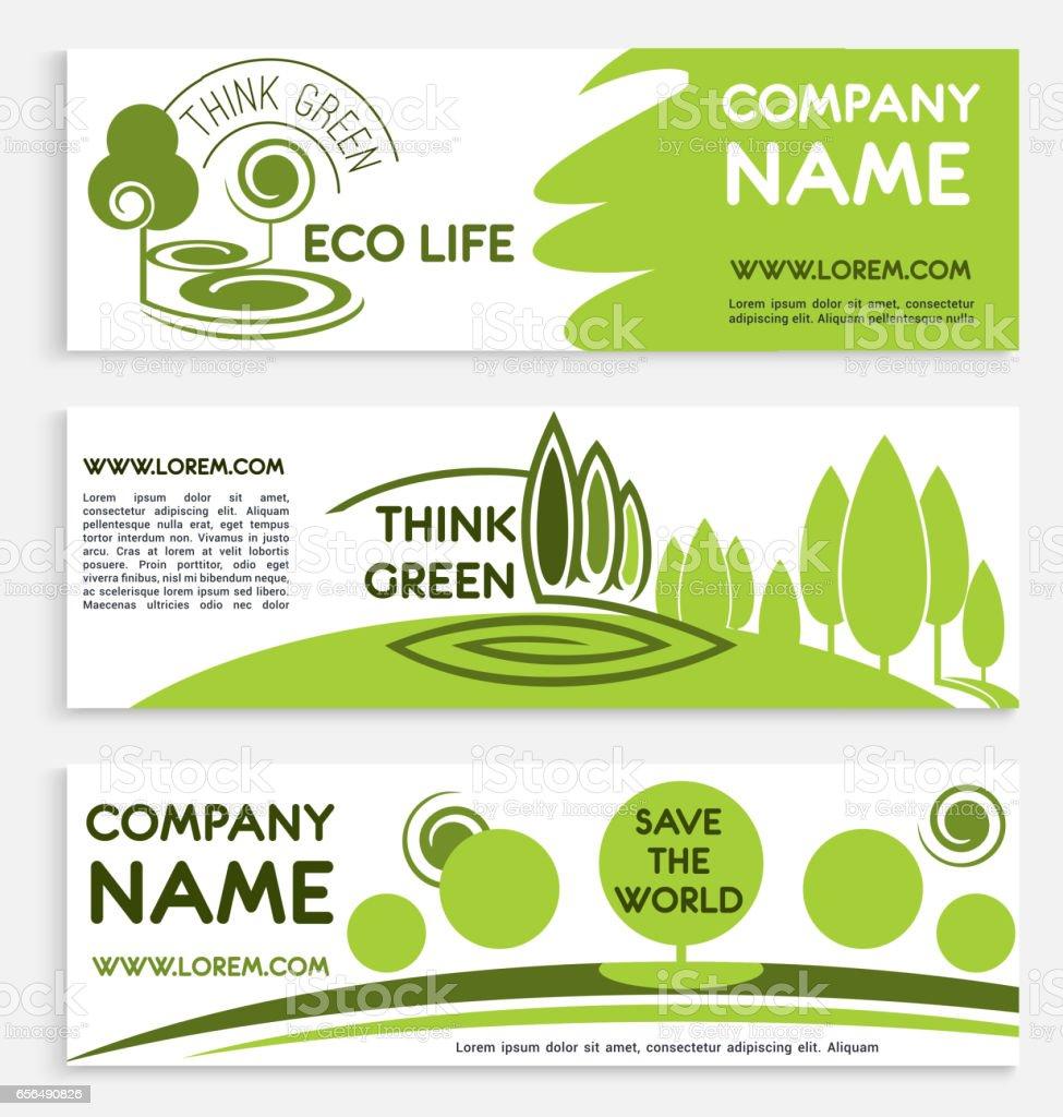Eco green business banner template design vector art illustration