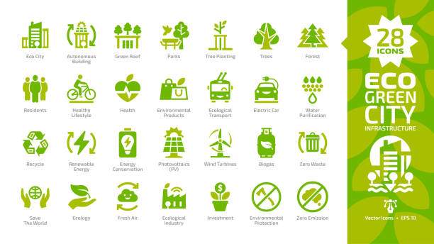 ilustrações de stock, clip art, desenhos animados e ícones de eco green city color glyph icon set with parks, trees, health, electric car, water purification, recycle, renewable energy, photovoltaics, wind turbines, biogas, fresh air and zero waste pictogram. - green city