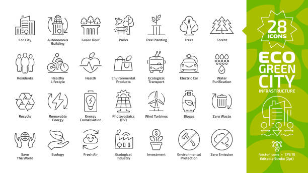 ilustrações de stock, clip art, desenhos animados e ícones de eco green city editable stroke line icon set with environment ecology town infrastructure, renewable solar and wind electric energy, recycle technology, urban tree save, global friendly outline sign. - green city