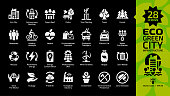 Eco green city white glyph icon set on a black background with ecology town infrastructure, nature environment building, recycle, renewable energy, PV, biogas, wind turbine and more ecological symbols