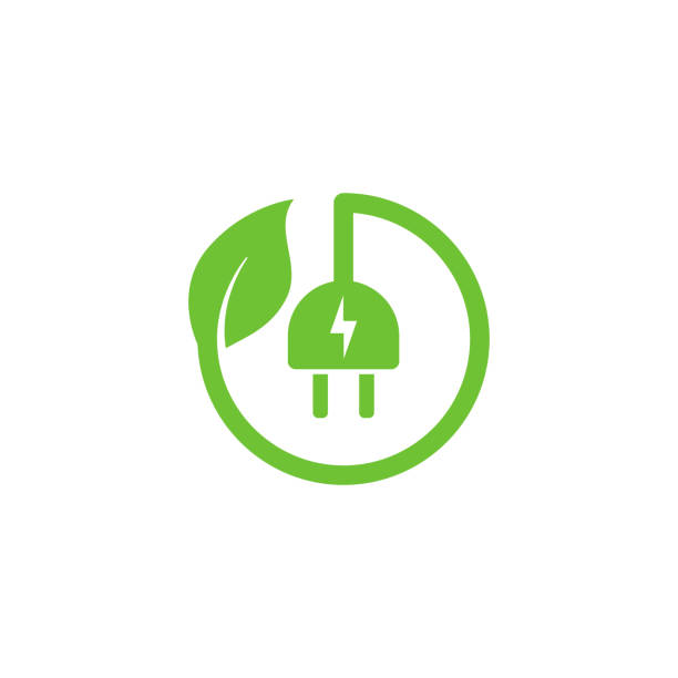 eco green electric plug icon symbol vector design with leaf shape eco green electric plug icon symbol vector design with leaf shape energy efficient stock illustrations