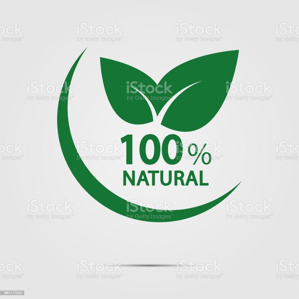 eco green energy concept,100 percent natural label. Vector illustration. vector art illustration