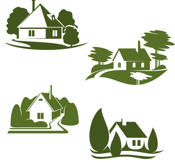 Eco green house icon of ecology real estate design Eco green house isolated icon set. Eco city green home symbol with backyard garden, tree and grass lawn for ecology landscape design and environment friendly real estate company emblem design cottage stock illustrations