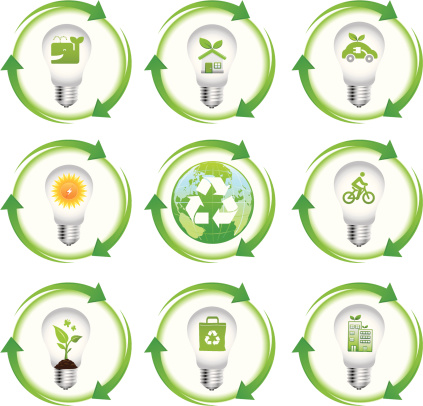 eco green icon set in light bulb with arrows