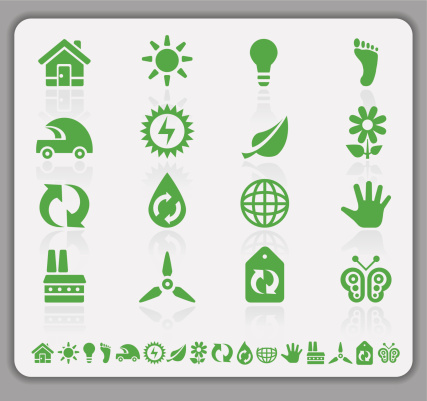Eco green icons with shadow . Image contains transparency in shadow. 10 EPS