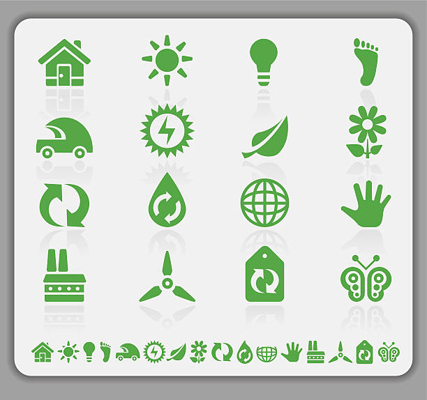 eco green icons - vectors stock pictures, royalty-free photos & images