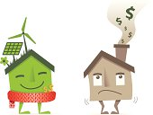 eco green insulated house saving money vs brown losing cash