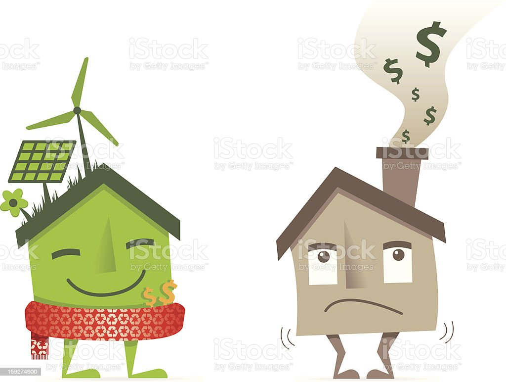eco green insulated house saving money vs brown losing cash vector art illustration