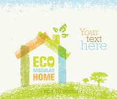 Creative Vector Eco Green Design Element. Organic Bio Concept On Natural Rough Paper Background