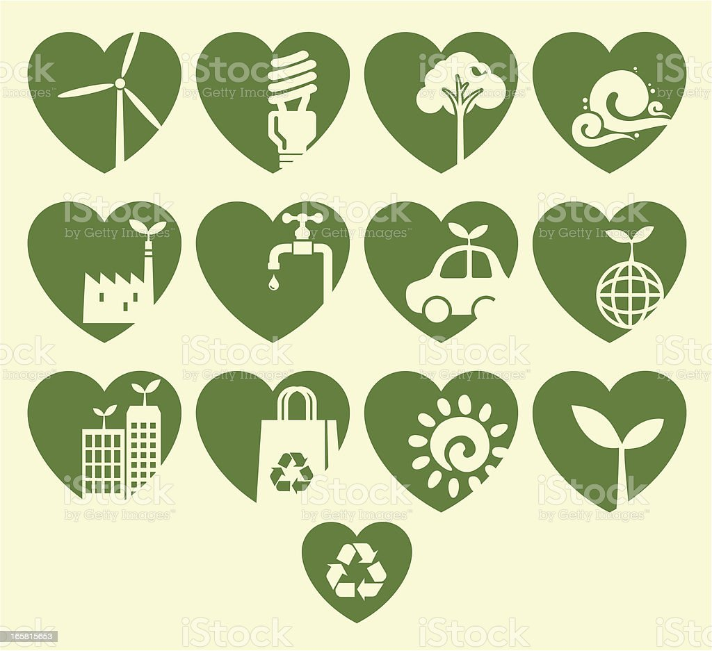 Eco Heart Icon Set royalty-free eco heart icon set stock vector art & more images of alternative energy