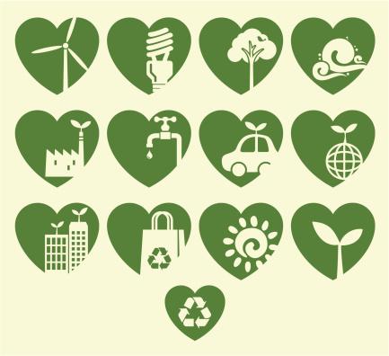 Eco Heart Icon Set