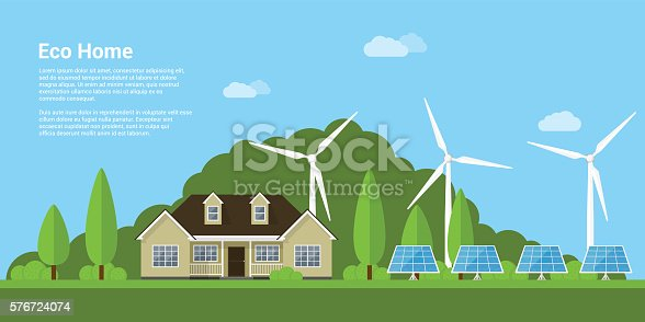 picture of a privat house, solar panels and wind turbines with mountains on background, flat style concept of eco home, renewable energy, ecology