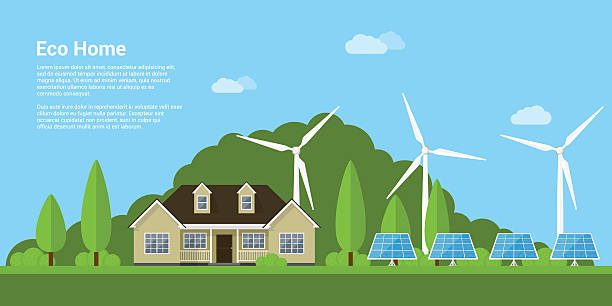 eco home concept picture of a privat house, solar panels and wind turbines with mountains on background, flat style concept of eco home, renewable energy, ecology solar panels illustrations stock illustrations