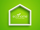 White frame in shape of house on green background. Eco home real estate symbol