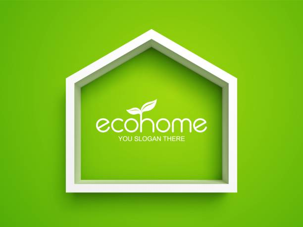 Eco home real estate symbol White frame in shape of house on green background. Eco home real estate symbol energy efficient stock illustrations