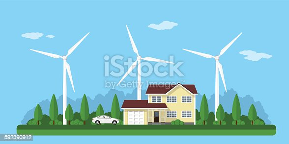 picture of a private house, solar panels and wind turbines with mountains on background, flat style concept of eco home, renewable energy, ecology