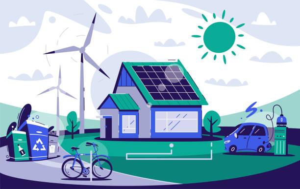 ilustrações de stock, clip art, desenhos animados e ícones de eco house. cartoon vector flat illustration. - solar panel