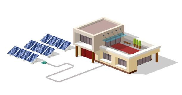 öko-haus mit sonnenkollektoren anlage verbunden. haus mit alternativen eco green energy, isometrische infografik 3d-konzept. solar-panels eingestellt. vektor-illustration - solaranlage stock-grafiken, -clipart, -cartoons und -symbole