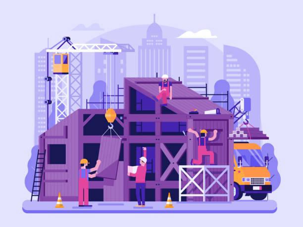 illustrations, cliparts, dessins animés et icônes de maison eco construction site scène - chantier