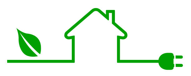 eco house icon. energy efficient house concept - vector - energy saving stock illustrations, clip art, cartoons, & icons
