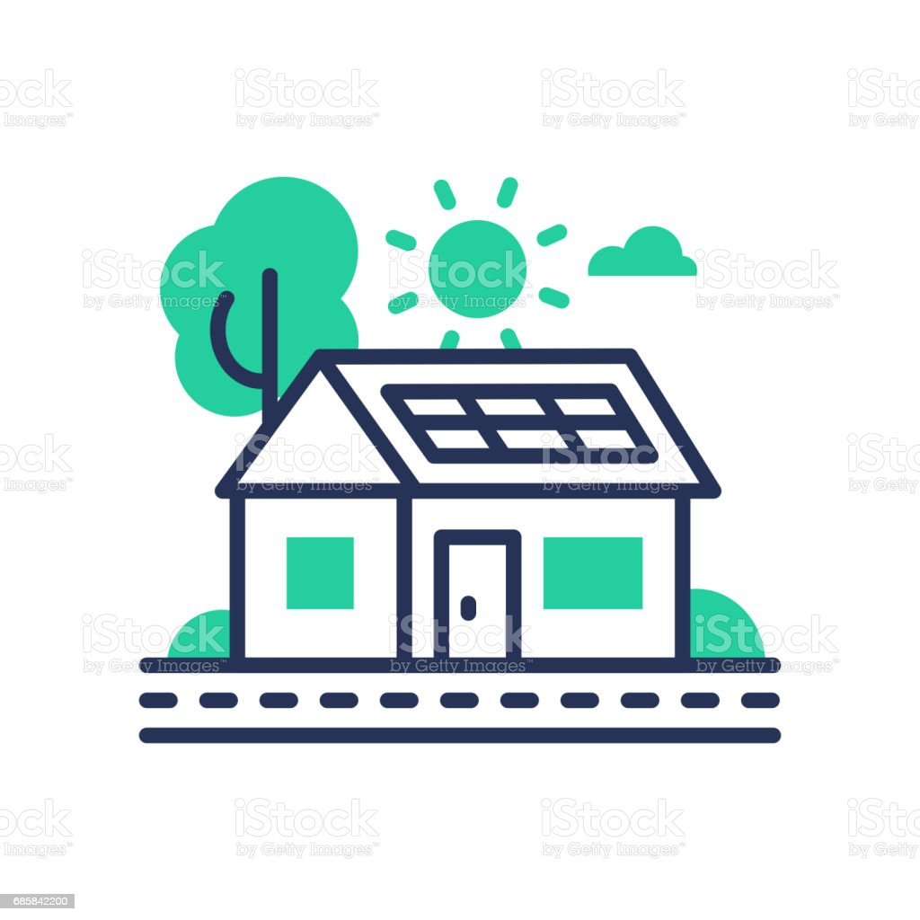 Eco House - modern vector single line icon vector art illustration
