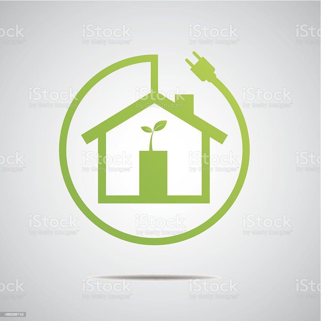 Eco House Real Estate icon. Vector design vector art illustration