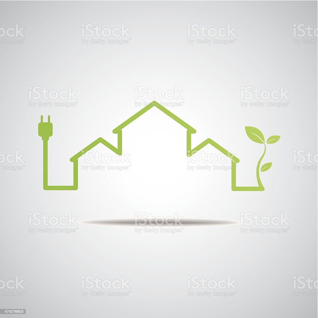 Eco House Real Estate icon vector art illustration