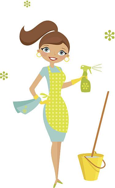 ilustraciones, imágenes clip art, dibujos animados e iconos de stock de eco ama de casa - cabello castaño