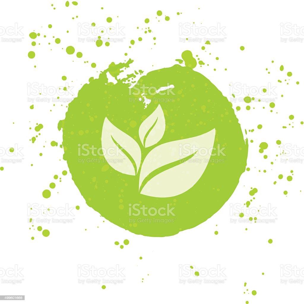 Icône de vecteur Eco, bio Connectez-vous à l'eau avec des taches - Illustration vectorielle