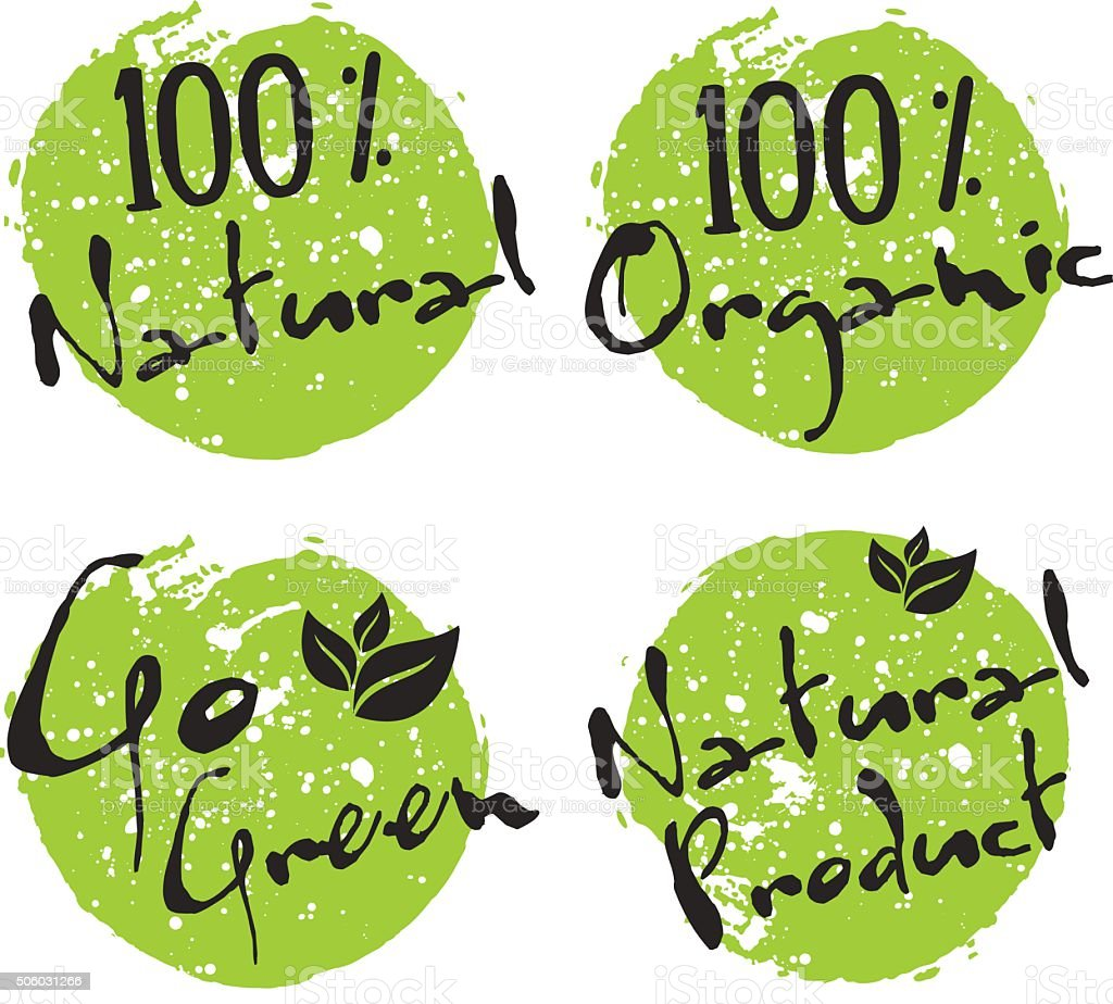 Eco icon, vector bio sign on watercolor stain with spots vector art illustration
